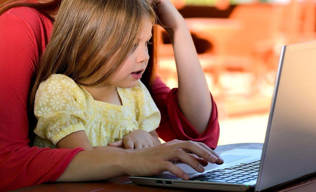дети, ноутбук