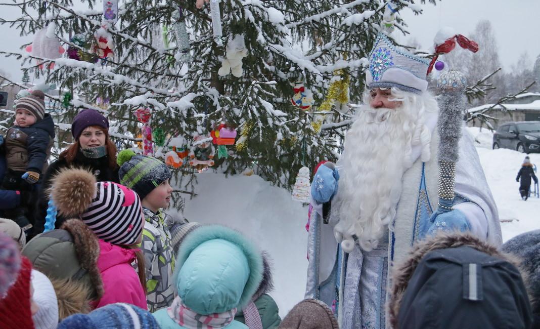 открытие снежного городка на 35-том, Дед Мороз, елка